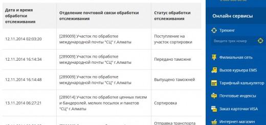История доставки Казпочта