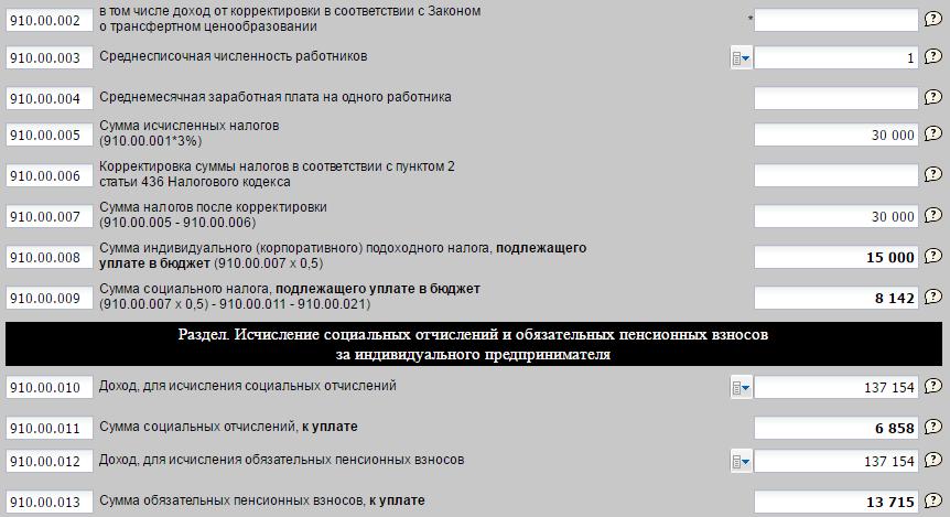 Пример заполнения 910 формы ИП